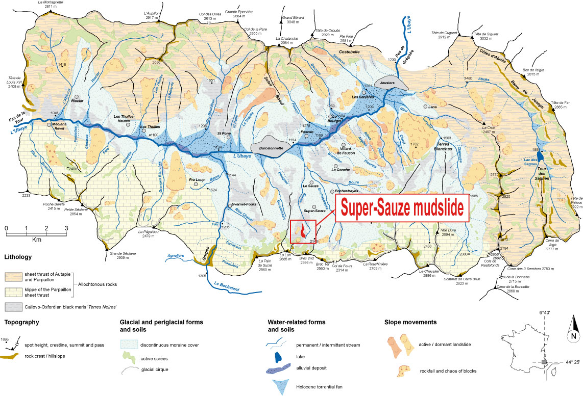 Location of the Barcelonnette basin and the Super-Sauze mudslide