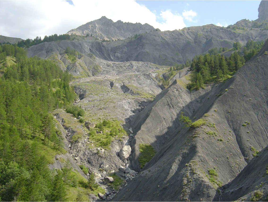 Super-Sauze mudslide from the bottom (2006)