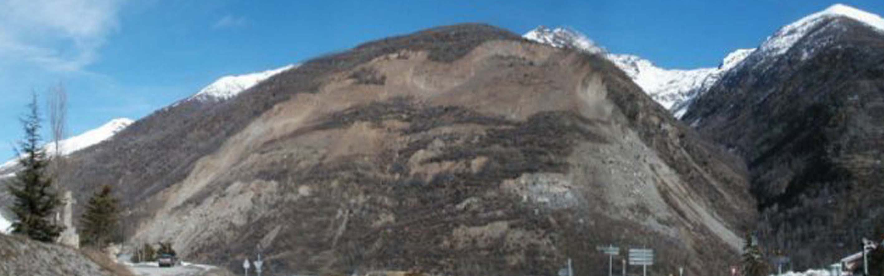 La Clapîère landslide: view of the unstable slope in 1995