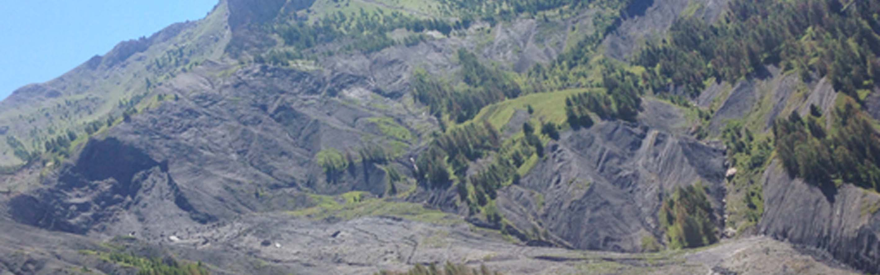 Super-Sauze landslide: view of the landslide and the Sauze catchment in 2016